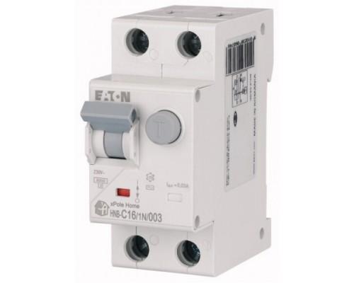Диф. авт. выключатель HNB-C16/1N/003, 1P+N, 16A, хар-ка C, 6kA, 30mA, тип АC, 2M, Eaton