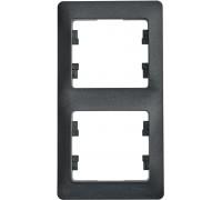 2-постовая РАМКА, вертикальная,   АНТРАЦИТ, Schneider Electric, Серия Glossa, GSL000706