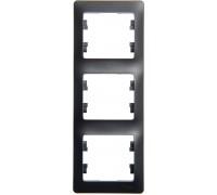 3-постовая РАМКА, вертикальная,   АНТРАЦИТ, Schneider Electric, Серия Glossa, GSL000707