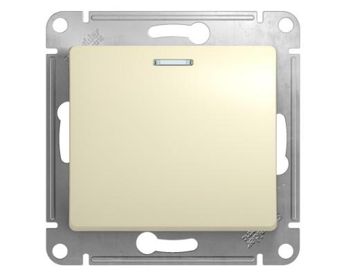1-клавишный ВЫКЛЮЧАТЕЛЬ с подсветкой, БЕЖЕВЫЙ, Schneider Electric, Серия Glossa, GSL000213