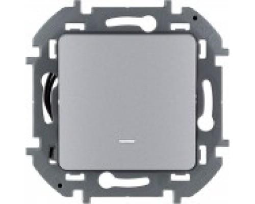 Выключатель одноклавишный с подсветкой Legrand Inspiria 673612 алюминий