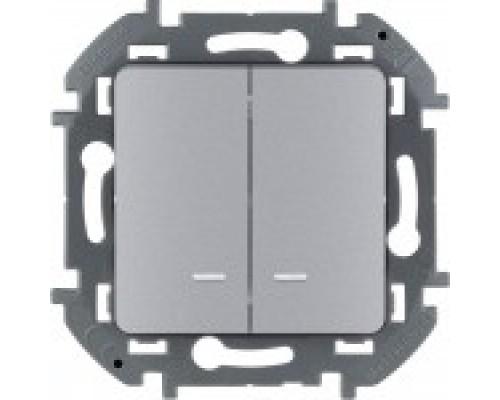 Выключатель двухклавишный с подсветкой Legrand Inspiria 673632 алюминий