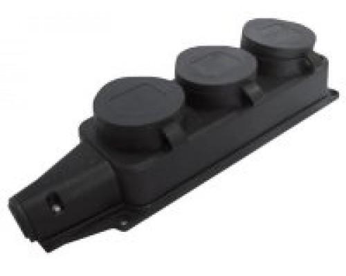 Розетка тройная каучуковая 16А c крышкой(LEZARD)
