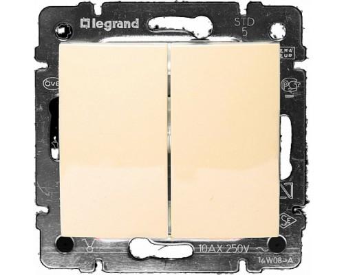Выключатель двухклавишный Legrand Valena (крем)