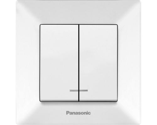 Выключатель Panasonic Arkedia двухклавишный с подсветкой белый